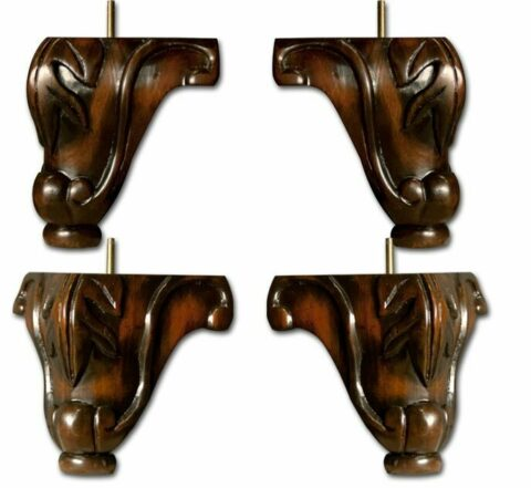SOLD AS A SET OF FOUR~Carved Sofa Legs with Walnut Finish